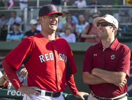 Red Sox pitching prospect Terry Doyle (left) was reunited with former BC teammate Peter Frates, who is battling ALS, at JetBlue Park Thursday.
